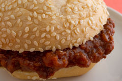 Close view of a sloppy joe sandwich Royalty Free Stock Photography
