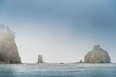 Close view of small islands in the haze  on the La Push Stock Image