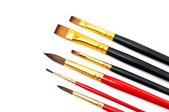 Close view of some different paintbrushes Royalty Free Stock Image