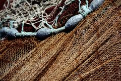 Fishing net and weights Royalty Free Stock Photography