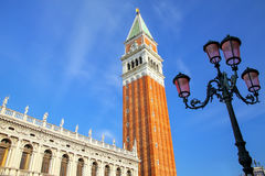 Close view of St Mark`s Campanile and Biblioteca at Piazzetta Sa Royalty Free Stock Images