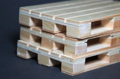 Close view of stack wooden pallets. Flat transport structure Royalty Free Stock Image