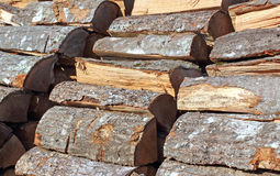 Close View Stacked Firewood Royalty Free Stock Photography