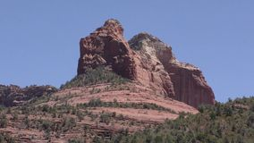 Arizona, Sedona, A close view of Steamboat Rock as seen from the north side