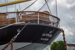 Close view of the stern of Glenlee at Glasgow Riverside Museum, Scotland. The Sailing Ship Glenlee, permantly moored at the Riverside Museum on the River Clyde Stock Photography