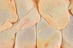 Close view of store packaged chicken thighs Stock Image