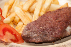 Close view at the stuffed burger on the plate Royalty Free Stock Photo