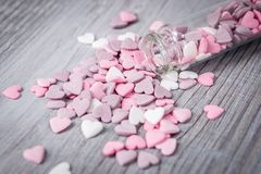 Close view of sugar candy hearts Royalty Free Stock Image