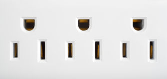 Close view of a surge protector outlets Royalty Free Stock Images
