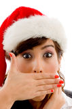 Close view of surprised christmas woman Stock Photos