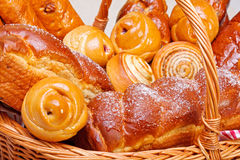 Close view of sweet bakery products. In basket stock photography