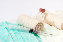 Close view of syringes and bandages Stock Photography