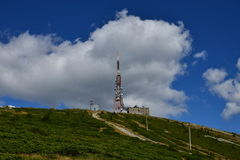 Close view of the telecommunications relay at Curcubăta Mare peak, Apuseni Mountains, Bihor, Romania Royalty Free Stock Images