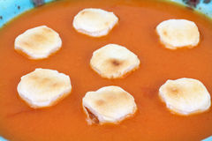 Close View Tomato Bisque and Crackers Royalty Free Stock Images