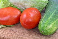 Close view tomatoes lettuce and cucumber Stock Photography