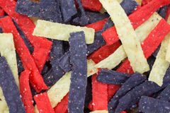 Close view of tortilla strips multiple colors Royalty Free Stock Photo