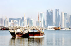 Close view of traditional dhow of Qatar Stock Images