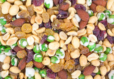 Close view trail mix with wasabi peas Royalty Free Stock Photos