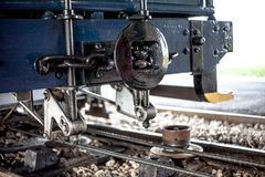 Close view of tram rail front end, showing the spare parts of tramway. Old, vintage, classic, historical technology parts close up stock photo
