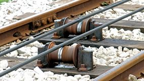 Close view of tram rail tracks showing the cable system which pulls the trams. Up to the Great Orme Mountain in LLandudno, Wales stock video