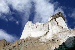 Close view of Tsemo monastery on hilltop Stock Image