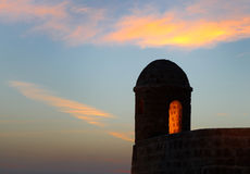 Close view of watch tower of Bahrain fort Royalty Free Stock Photo