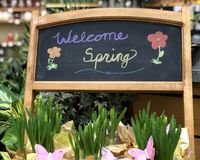 Welcome Spring Chalkboard Sign stock image