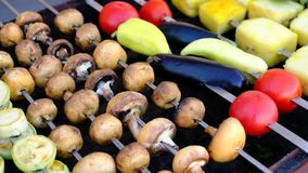 A close view of well-cooked mushrooms and vegetables on skewers, lying on a brazier. Street food. A close view of well-cooked appetizing mushrooms and various stock video footage
