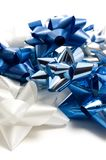 Close View of White and Blue Christmas Bows Royalty Free Stock Photography