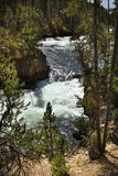 Close view of winding channel of Yellowstone River above falls. Royalty Free Stock Photography