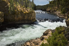 Close view of winding channel of Yellowstone River above falls. Royalty Free Stock Photos