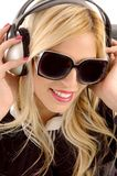 Close view of woman enjoying music Royalty Free Stock Photos