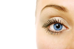 Close view of woman eye Stock Photos