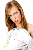 Close view of woman holding disco ball Stock Photography