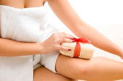 Close view of woman scrubbing her leg Royalty Free Stock Photos