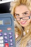 Close view of woman showing calculator Royalty Free Stock Image
