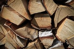 Close view of wooden beams, firewood background stock photos