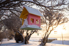 Close view of wooden bird's feeder in winter on Stock Photography