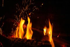 Close view of a wooden trunk in a fireplace stock photo