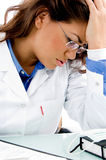 Close view of young stressed medical professional Royalty Free Stock Images