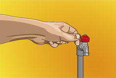 Close the water tap. In home Stock Image