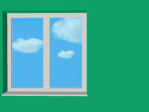 Close window in green wall Stock Photos