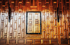 Close wood windows Thai style at temple Royalty Free Stock Photography