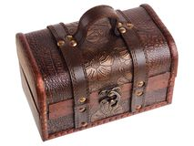 Close wooden chest royalty free stock photo