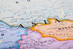 Map of Asia. Close of the word `Asia` in the map of asia stock images