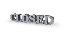 Closed. The word closed with a keyhole - 3d illustration Royalty Free Stock Images