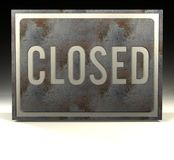 Closed. A rusty sign with the word closed on it Stock Image