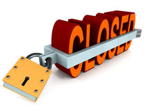 Closed. Word closed in a locked clamp, showing total shutdown concept, 3d model on white background Royalty Free Stock Photography