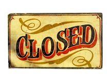 Closed. Old closed sign isolated on white Stock Images