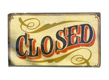 Closed. Old closed sign Stock Images